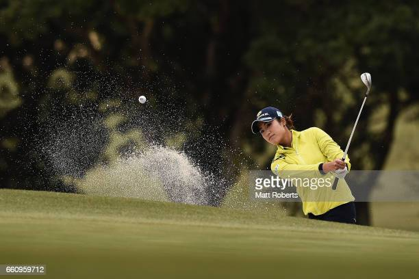 Aoi Ohnishi of Japan hits out of the bunker on the seventh hole during the second round of the YAMAHA Ladies Open Katsuragi at the Katsuragi Golf...