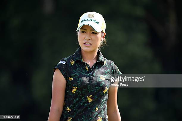 Aoi Ohnishi of Japan looks on during the first round of the Munsingwear Ladies Tokai Classic 2016 at the Shin Minami Aichi Country Club Mihama Course...