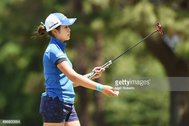 Aoi Ohnishi of Japan reacts after her putt on the 11th green during the second round of the Nichirei Ladies at the on June 17 2017 in Chiba Japan