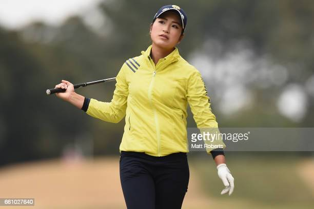 Aoi Ohnishi of Japan reacts after her second shot on the eighth hole during the second round of the YAMAHA Ladies Open Katsuragi at the Katsuragi...