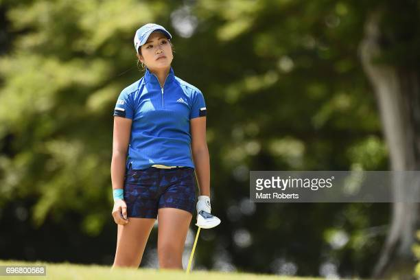 Aoi Ohnishi of Japan watches her tee shot on the 12th hole during the second round of the Nichirei Ladies at the on June 17 2017 in Chiba Japan
