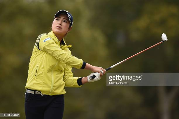 Aoi Ohnishi of Japan watches her tee shot on the eighth hole during the second round of the YAMAHA Ladies Open Katsuragi at the Katsuragi Golf Club...