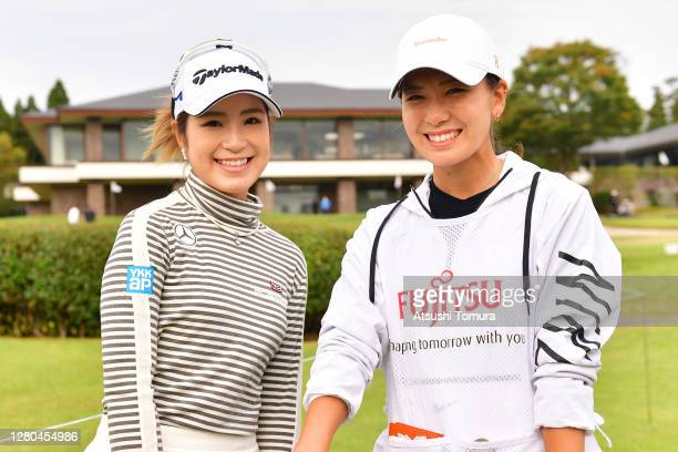 Aoi Onishi of Japan and Hikari Fujita pose after the first round of the Fujitsu Ladies 2020 at the Tokyu Seven Hundred Club on October 16, 2020 in...
