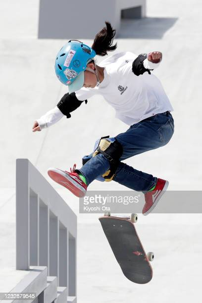Aoi Uemura competes in the Women's Street event during the Skateboarding Olympic Test Event at the Ariake Urban Sports Park on May 14, 2021 in Tokyo,...