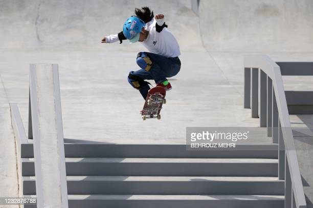 Aoi Uemura of Japan competes in the women's street skateboarding during a test event for the Tokyo 2020 Olympic Games at Ariake Urban Sports Park in...