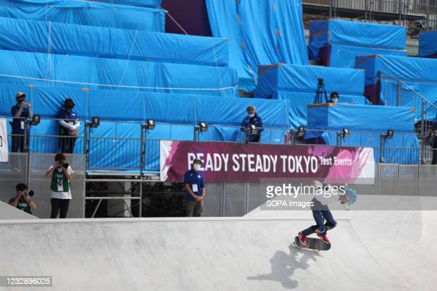 Aoi Uemura performs her routine during the READY STEADY TOKYO Skateboarding Test Event at Ariake Urban Sports Park in course of the preparations for...