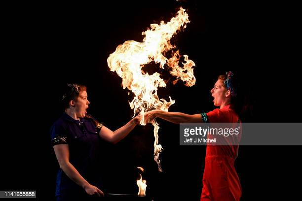 Aoife Raleigh and Maria Corcoran perform a fire act during the launch of Strong Women Science at the Pleasance Edinburgh Science Festival's new...