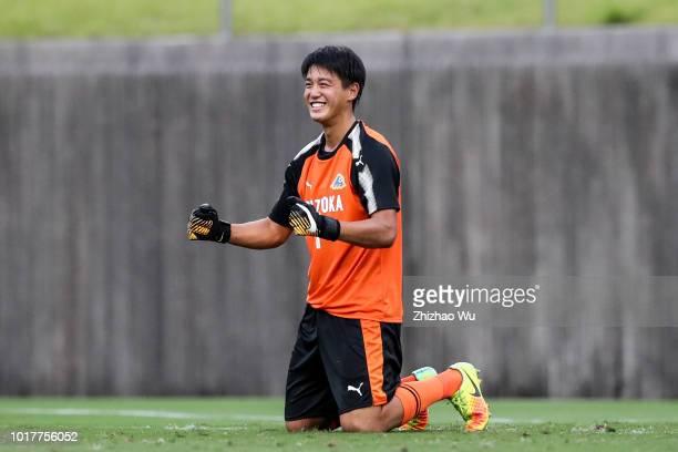 Aoki Kokoro of Shizuoka in action during the Shizuoka Youth Selection Team and Paraguay U18 during the SBS Cup International Youth Soccer at Fujieda...