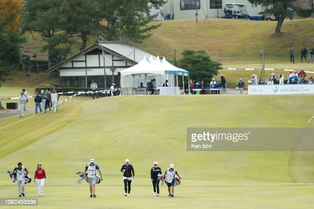 Aoki Serena of Japan Jacqui Concolino of United States and Hyo Joo Kim of South Korea walk on the first hole during the first round of the TOTO Japan...