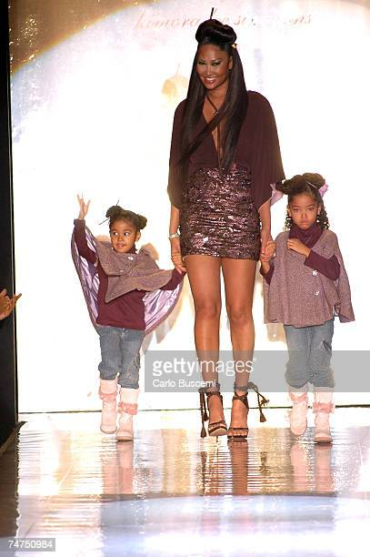 Aoki Simmons Kimora Lee Simmons and Ming Lee Simmons at the The Tent Bryant Park in New York City New York