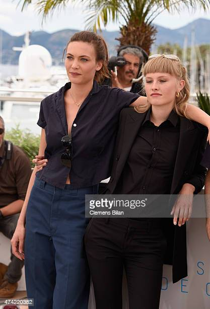 Aomi Muyock and Klara Kirstin attends the Love photocall during the 68th annual Cannes Film Festival on May 21 2015 in Cannes France