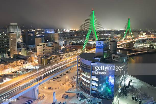 aomori bay bridge in japan - aomori prefecture stock pictures, royalty-free photos & images