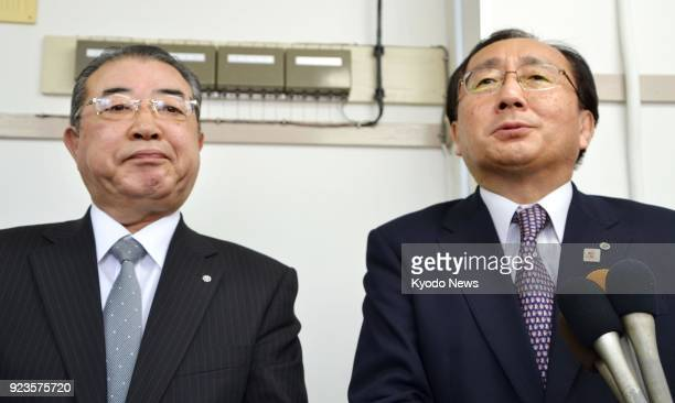 Aomori Gov Shingo Mimura and Koji Ebina mayor of Tohoku in the northeastern Japan prefecture meet the press after holding talks with Defense Minister...