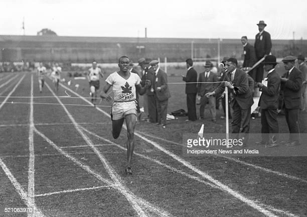 Aonach Tailteann Athletics - Croke Park. Canadian P. Edwards winning the 800 meters race. 1928. .