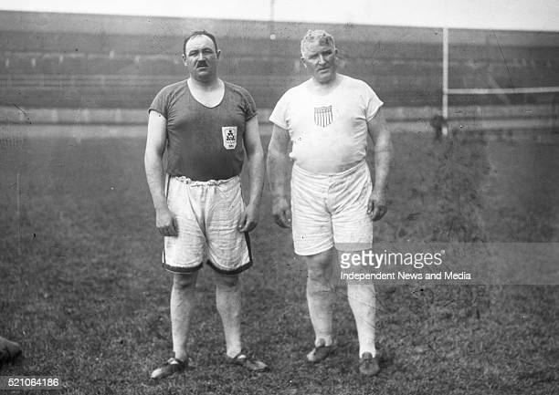Aonach Tailteann Athletics - Croke Park. J. O'Grady on left with Pat MacDonald who took part in slinging the 57LB weight for height event. They tied...