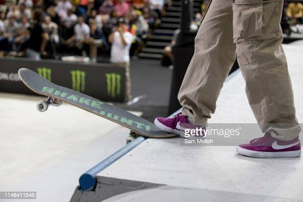 Aori Nishimura Japan during the womens final of the Street League Skateboarding World Tour Event at Queen Elizabeth Olympic Park on 26th May 2019 in...