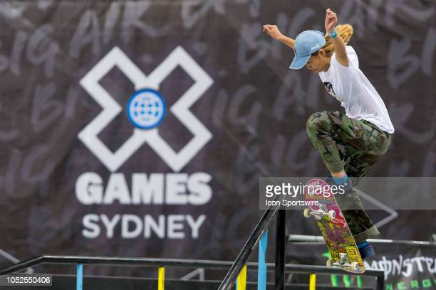 Aori Nishimura of Japan competes in the Skateboard street womens final at The XGames at Spotless Stadium in Sydney on October 19 2018