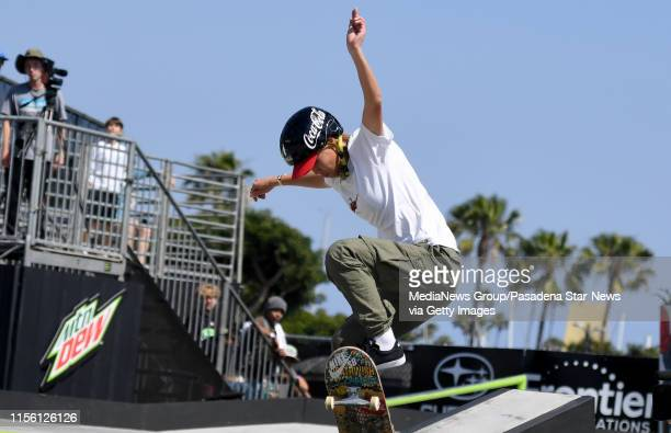 Aori Nishimura of Japan competes in the Women's SemiFinal Street Course during the Dew Tour at the Long Beach Convention Center on Friday June 14...