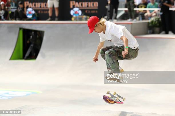 Aori Nishimura of Japan competes in the Women's Skateboard Street at the X Games Minneapolis 2019 at US Bank Stadium on August 04 2019 in Minneapolis...