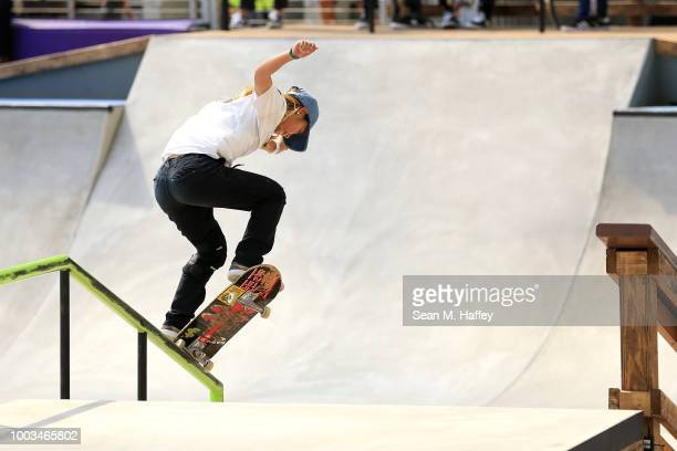 Aori Nishimura of Japan competes in the Women's Skateboard Street Final during the ESPN X Games at US Bank Stadium on at US Bank Stadium on July 21...