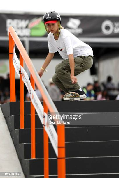 Aori Nishimura of Japan competes in the Women's Street Semifinal during the 2019 Dew Tour on June 14 2019 in Long Beach California