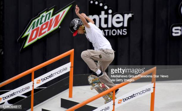 Aori Nishimura of Japan competes in the Women's Street Skateboard Final during the Dew Tour at the Long Beach Convention Center on Sunday June 16...