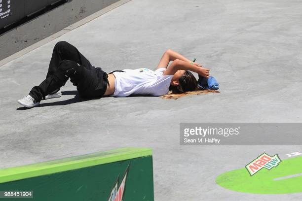 Aori Nishimura of Japan competes in the Womsn's Pro Street Final at the 2018 Dew Tour on June 30 2018 in Long Beach California