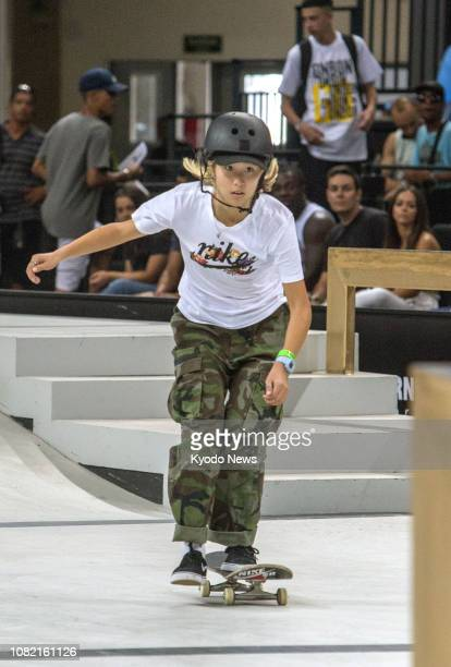 Aori Nishimura of Japan performs en route to winning the women's title at the 2018 World Skate Street League Skateboarding Tour in Rio de Janeiro on...