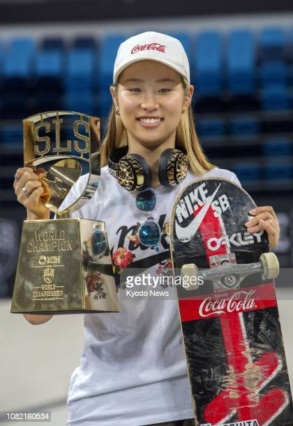 Aori Nishimura of Japan poses for photos after winning the women's title at the 2018 World Skate Street League Skateboarding Tour in Rio de Janeiro...