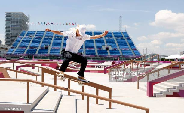 Aori Nishimura of Team Japan practices on the skateboard street course ahead of the Tokyo 2020 Olympic Games on July 21, 2021 in Tokyo, Japan....