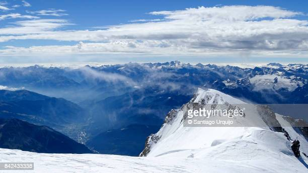 Aosta Valley and the Rutor glacier from the Mont Blanc  summit