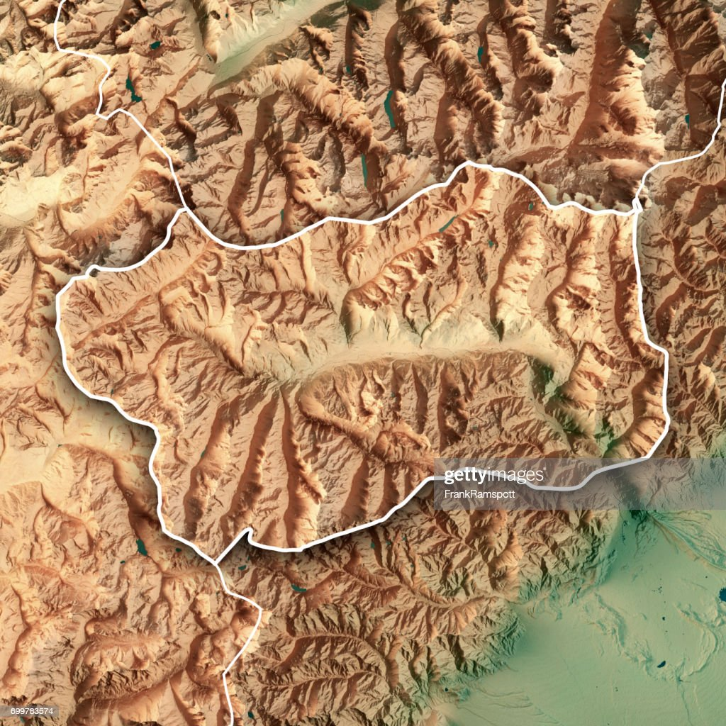 Aosta Valley State Italy 3d Render Topographic Map Border Stock