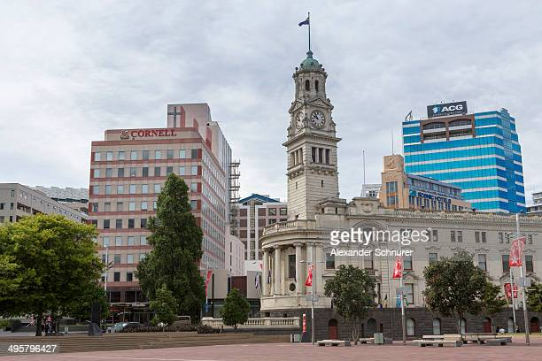 aotea square with the historic town hall building, auckland, auckland region, new zealand - aotea square stock photos and pictures