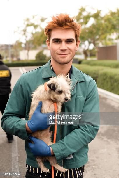 Apa and Bumble Winner volunteer with ASPCA at Annenberg PetSpace on February 17, 2019 in Playa Vista, California.