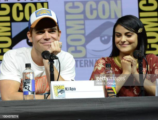 Apa and Camila Mendes speak onstage at the 'Riverdale' special video presentation and QA during ComicCon International 2018 at San Diego Convention...