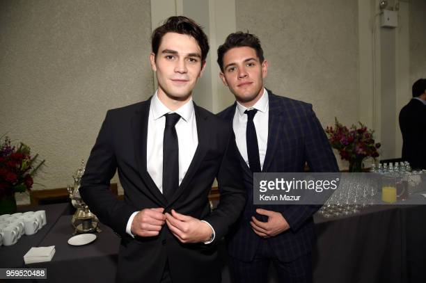 Apa and Casey Cott attend The CW Network's 2018 upfront at New York City Center on May 17 2018 in New York City