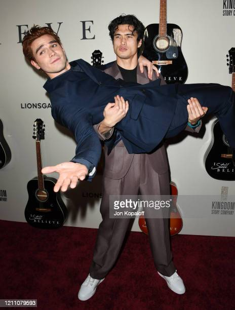 J Apa and Charles Melton attend the premiere of Lionsgate's I Still Believe at ArcLight Hollywood on March 07 2020 in Hollywood California