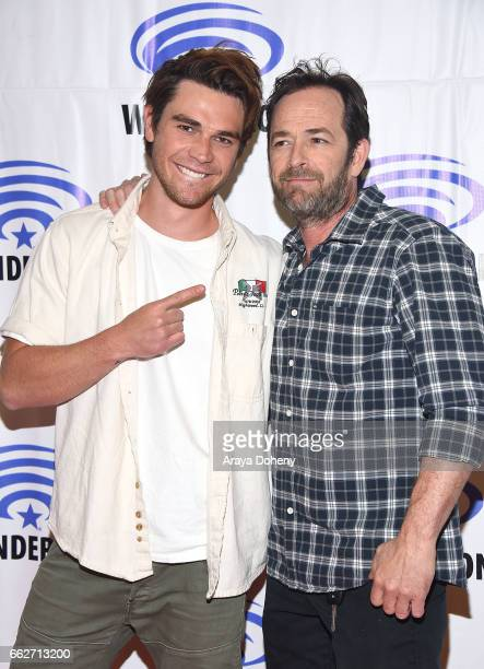 J Apa and Luke Perry attend the Riverdale panel at WonderCon 2017 Day 1 at Anaheim Convention Center on March 31 2017 in Anaheim California
