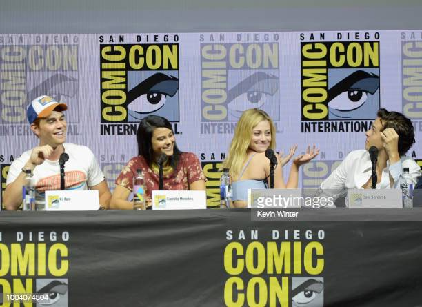 KJ Apa Camila Mendes Lili Reinhart and Cole Sprouse speak onstage at the 'Riverdale' special video presentation and QA during ComicCon International...