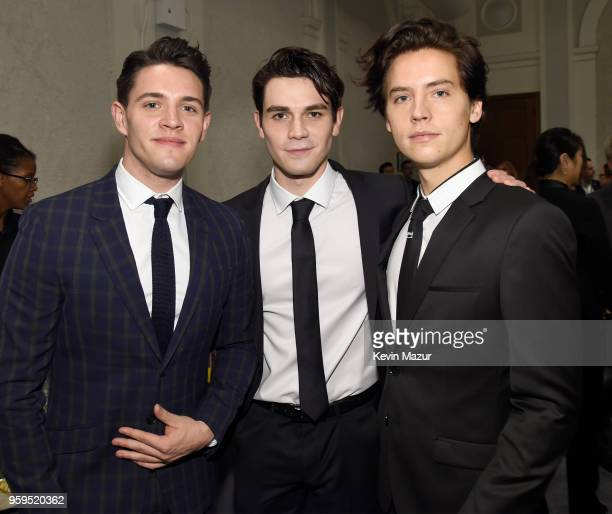 KJ Apa Casey Cott and Cole Sprouse attend The CW Network's 2018 upfront at New York City Center on May 17 2018 in New York City