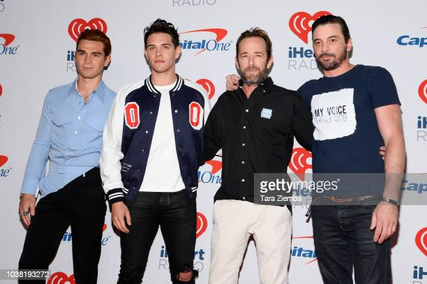 KJ Apa Casey Cott Luke Perry and Skeet Ulrich pose in the press room during the iHeartRadio Music Festival at TMobile Arena on September 22 2018 in...