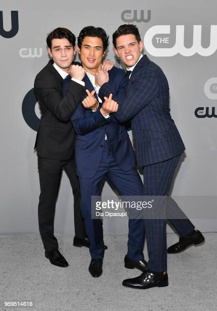 KJ Apa Charles Melton and Casey Cott attend the 2018 CW Network Upfront at The London Hotel on May 17 2018 in New York City