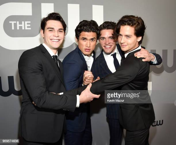 Apa Charles Melton Casey Cott and Cole Sprouse attend The CW Network's 2018 upfront at The London Hotel on May 17 2018 in New York City