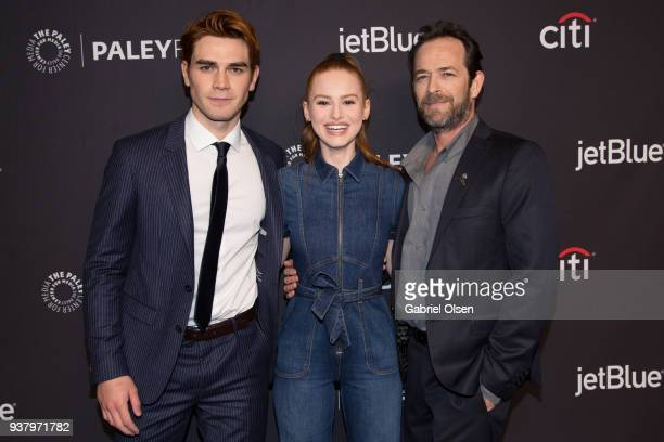 KJ Apa Madelaine Petsch and Luke Perry arrive for the 2018 PaleyFest Los Angeles CW's Riverdale at Dolby Theatre on March 25 2018 in Hollywood...