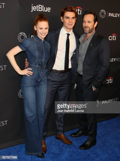 Apa Madelaine Petsch and Luke Perry attend The Paley Center For Media's 35th Annual PaleyFest Los Angeles 'Riverdale' at Dolby Theatre on March 25...