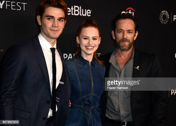 Apa Madelaine Petsch Luke Perry attends The Paley Center For Media's 35th Annual PaleyFest Los Angeles Riverdale at Dolby Theatre on March 25 2018 in...