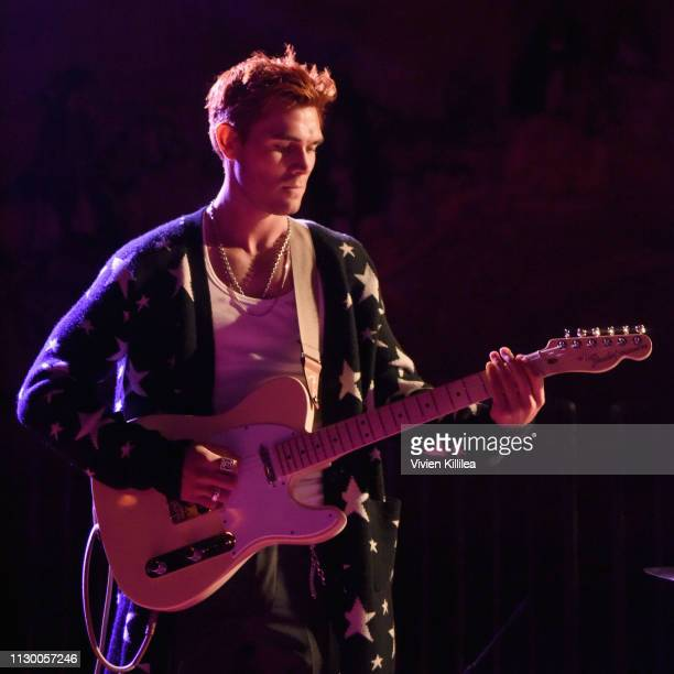 Apa of The Good Time Boys performs during Teen Vogue's Young Hollywood Party presented by Snap at Los Angeles Theatre on February 15 2019 in Los...