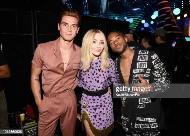 KJ Apa Sabrina Carpenter and Algee Smith attend FOX's Teen Choice Awards at The Forum on August 12 2018 in Inglewood California