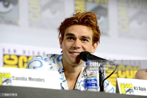 Apa speaks at the Riverdale Special Video Presentation and QA during 2019 ComicCon International at San Diego Convention Center on July 21 2019 in...