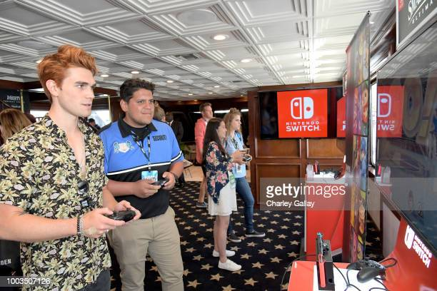 Apa tests his skills on Super Smash Bros Ultimate for Nintendo Switch at the Variety Studio at ComicCon 2018 on July 21 2018 in San Diego California